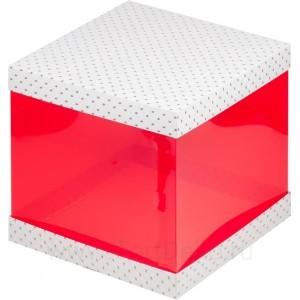 К67 Коробка для торта 235*235*220мм, с красными прозрачными стенками, белая с птичками
