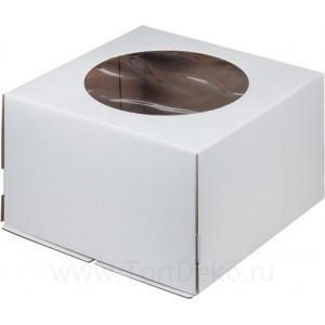К68 Коробка для торта с окном, белая, 240*240*180мм
