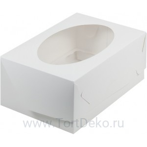 К72 Коробка на 6 капкейков с окном, белая, 235*160*100мм
