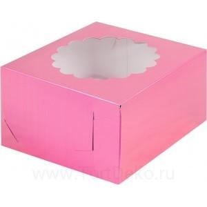 К74 Коробка на 4 капкейка с окном, фуксия, 160*160*100мм