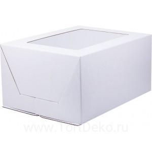К77 Коробка под торт с окном, белая , 300*400*200мм