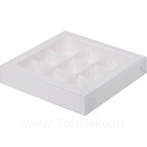 К78 Коробка для конфет с пластиковой крышкой 155*155*30 мм, белая