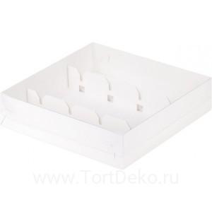 К80 Коробка для кейк-попсов с пластиковой крышкой, белая, 200*200*50 мм