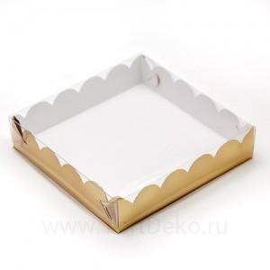 К82 Коробка для печенья и пряников, золото матовая, 155*155*35 мм