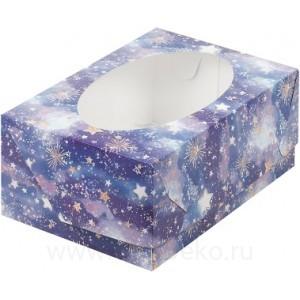К87 Коробка на 6 капкейков с окном, звёздное небо, 235*160*100мм