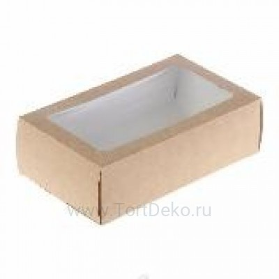 К91 Коробка для макарон с окном 180*110*55 мм, крафт