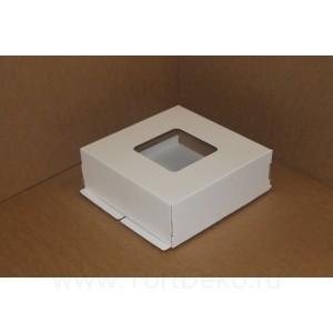 К95 Коробка под торт с окном, белая , 420*420*150мм