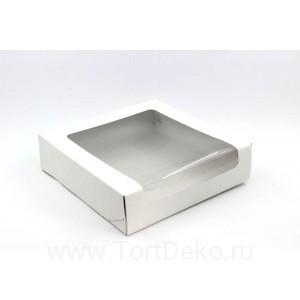 К96 Короб картонный белый с окном 225*225*60мм