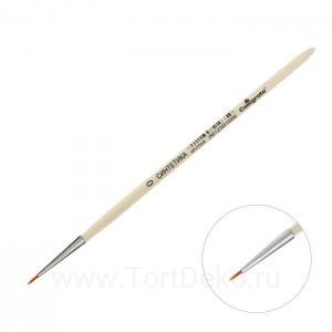 Кисть Синтетика Круглая №0 (d-1 мм; L-5 мм),ручка дерево Calligrata