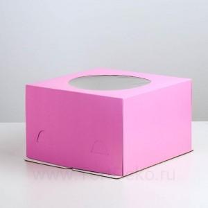 Кондитерская упаковка с окном, сиреневый, 300*300*190мм