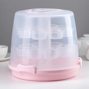 Контейнер для кондитерских изделий переносной 24 ячейки 32х24 см   цвет МИКС
