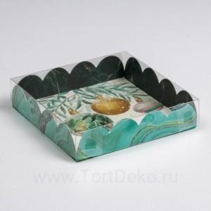 Коробка для кондитерских изделий с PVC крышкой «Бирюза», 13 × 13 × 3 см