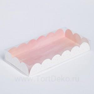 Коробка для кондитерских изделий с PVC-крышкой «Цвети от счастья», 21 × 10,5 × 3 см