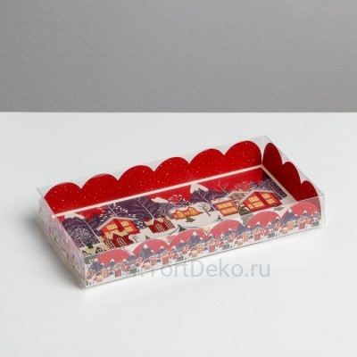 Коробка для кондитерских изделий с PVC крышкой «Карусель», 10.5 × 21 × 3 см