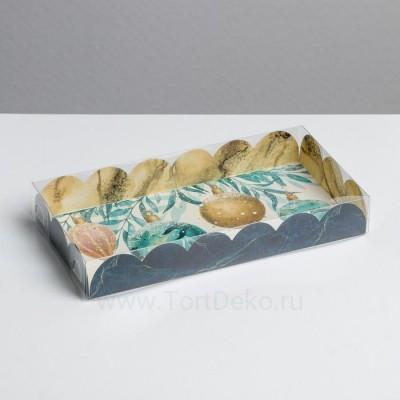 Коробка для кондитерских изделий с PVC крышкой «Лагуна», 10.5 × 21 × 3 см