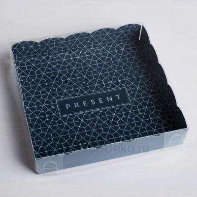 Коробка для кондитерских изделий с PVC-крышкой Present, 15 × 15 × 3 см