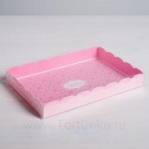Коробка для кондитерских изделий с PVC-крышкой «Сделано с любовью», 22 × 15 × 3 см