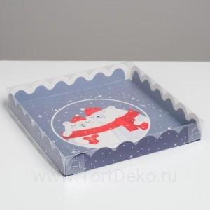 Коробка для кондитерских изделий с PVC крышкой «Теплоты», 21 × 21 × 3 см