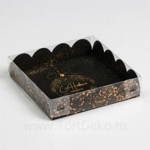 Коробка для кондитерских изделий с PVC крышкой «Золото», 13 × 13 × 3 см