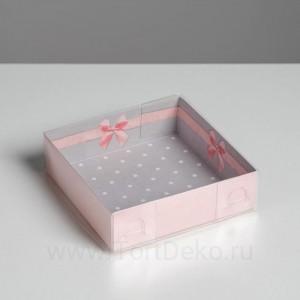 Коробка с PVC крышкой «Приятных моментов», 12 х 12 х 3 см