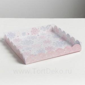 Коробка с PVC крышкой «Снежинка», 21×21×3см