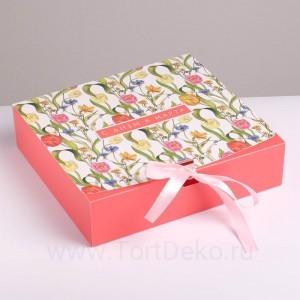 Коробка складная подарочная «С 8 марта», 20 × 18 × 5 см