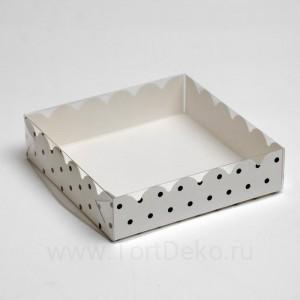 "Коробочка для печенья ""Горох"", белая, 12 х 12 х 3 см"