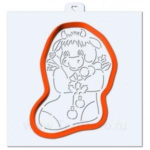 Коровка в рождественском носке №2. Форма для пряников с трафаретом. (Трафарет+форма)