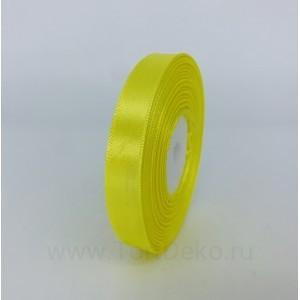 Лента атласная 12 мм, L-32,9 м (желтый лимонный)
