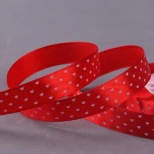 Лента атласная 15мм*25±1ярд сердечки №026 красный АУ