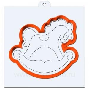 Лошадка-качалка. Форма для пряников с трафаретом. (Трафарет+форма)