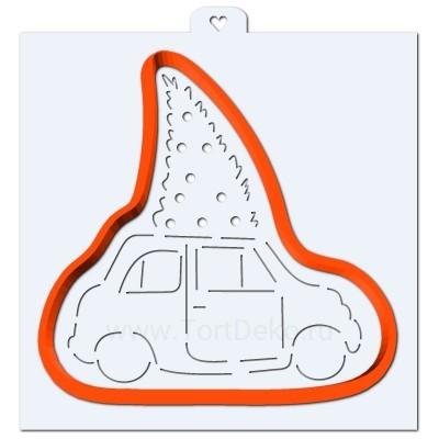Машина с елочкой. Форма для пряников с трафаретом. (Трафарет+форма)