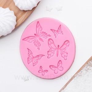 """Молд 8,4х7,5х0,5 см """"Шесть бабочек"""", розовый"""