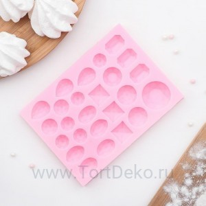"""Молд """"Драгоценные камни"""", 134*98*11 мм, розовый"""