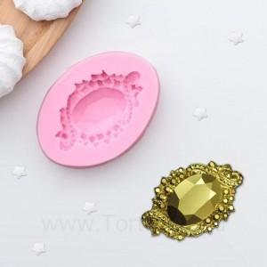 """Молд """"Драгоценный камень"""", 60*43*12 мм, розовый"""