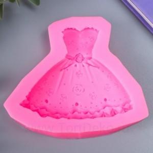"""Молд силикон """"Платье с розами"""" 5,5 см"""