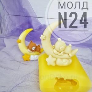 """Молд силиконовый 3D """"Мишка на луне №24"""", h-90 мм"""