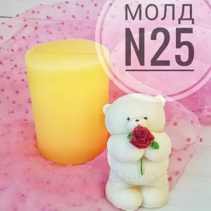 """Молд силиконовый 3D """"Мишка с розой в лапках №25"""", 80 мм"""