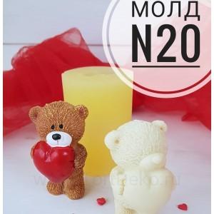 """Молд силиконовый 3D """"Мишка с сердцем №20"""", 75*45 мм"""