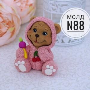 """Молд силиконовый 3D """"Мишка в костюмчике №88"""",  80 мм"""
