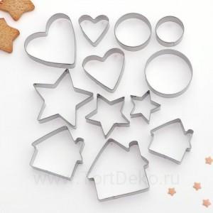 """Набор форм для вырезания печенья 12 шт """"Домик. Круг. Сердце. Звезда"""""""