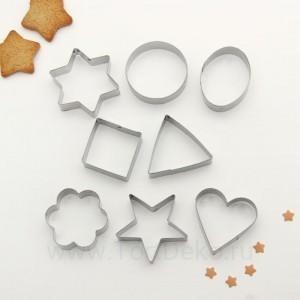 """Набор форм для вырезания печенья 8 шт """"Круг, овал, звезда, квадрат, сердце"""""""