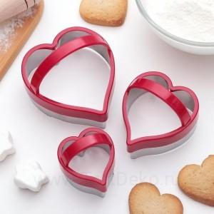 """Набор форм для вырезания печенья KONFINETTA 3 шт """"Сердце"""" 10х8, цвет МИКС"""