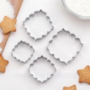 """Набор форм для вырезания печенья """"Рамка с орнаментом"""", (4 шт)"""