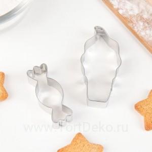 Набор форм для вырезания печенья «Сладости», 2 шт, 8×8×2,5 см