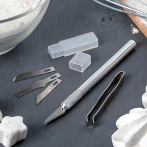 Набор инструментов для украшения кондитерских изделий: держатель, 2 насадки, щипцы