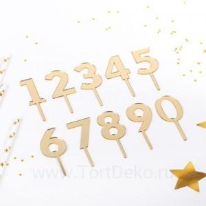 """Набор топперов на торт """"Цифры"""", 10 шт, 8х3 см, цвет золото"""