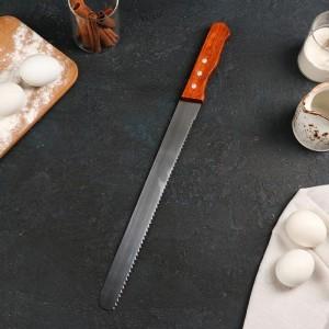 Нож для бисквита крупные зубцы, ручка дерево, рабочая поверхность 30 см