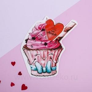"Открытка-валентинка с письмом ""Для тебя"" пироженка, 8,1 х 6,1 см"