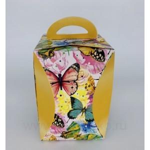 "П73 Коробка для кулича ""Бабочки цветные"" d124мм"